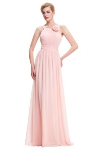 Sheath Long Blush Pink Chiffon Ruched Bridesmaid Dress ...