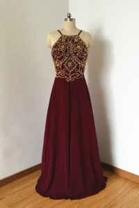 Sheath Low Back Long Burgundy Chiffon Gold Beaded Prom ...