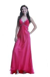 Sheath V Neck Cut Out Back Hot Pink Chiffon Beaded Prom Dress