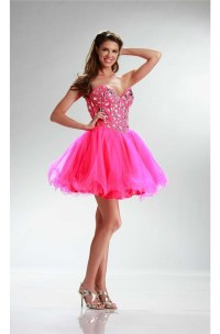 Sparkly Ball Strapless Short Hot Pink Tulle Rhinestone ...