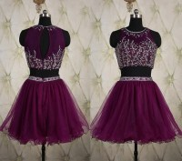 Stunning Keyhole Back Two Piece Short Purple Tulle Beaded ...