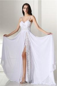 Sweetheart High Slit Spaghetti Strap Long White Lace ...