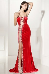 Unique Sexy Cutouts Long Red Charmeuse Beaded Prom Dress ...