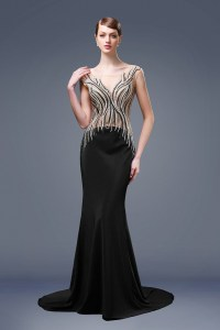 Unusual Mermaid Boat Neck Black Satin Beaded Formal ...