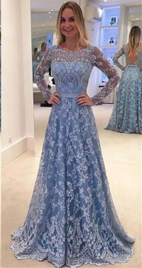 A Line Backless Long Sleeve Dusty Blue Lace Prom Dress