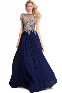 A Line Bateau Long Navy Blue Chiffon Gold Lace Applique ...
