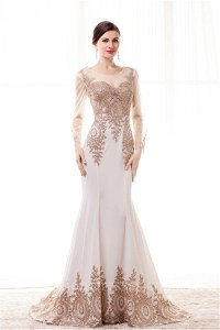 Fitted Scoop Neck White Satin Gold Lace See Through Prom ...