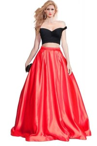 Sexy Off The Shoulder Black And Red Satin Two Piece Prom Dress