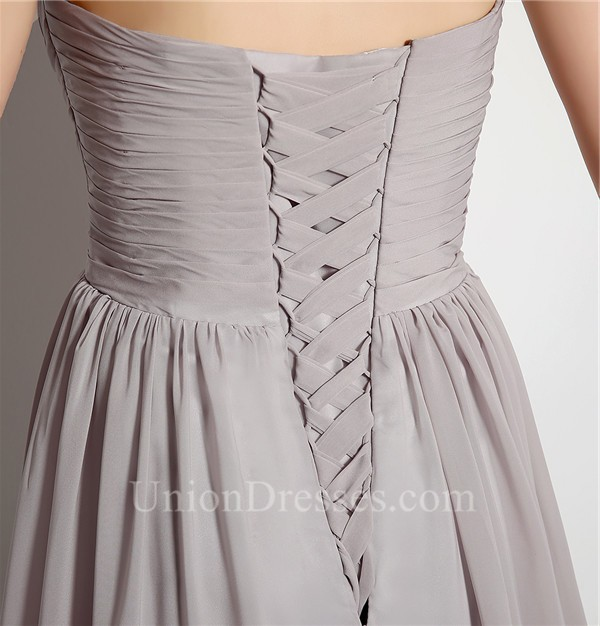 Simple A Line Strapless Long Silver Chiffon Ruched