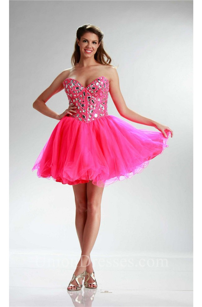 Sparkly Ball Strapless Short Hot Pink Tulle Rhinestone
