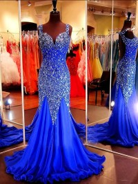 Sparkly Mermaid Sweetheart Open Back Royal Blue Tulle ...