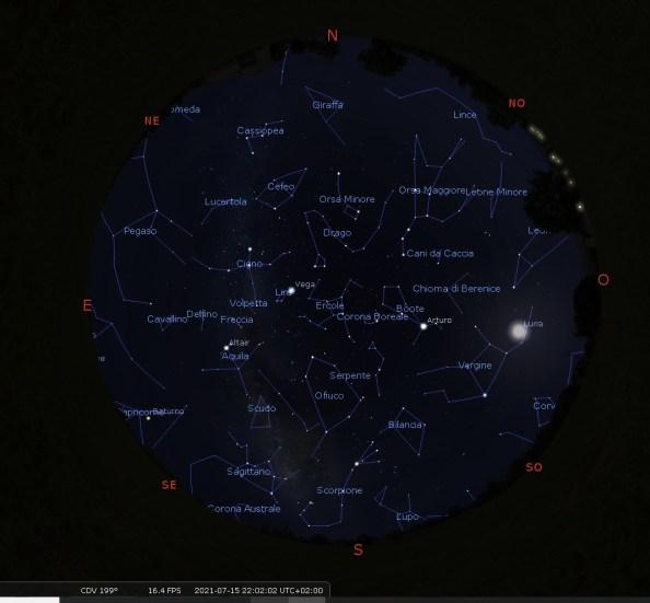 Stellarium con il cielo di luglio