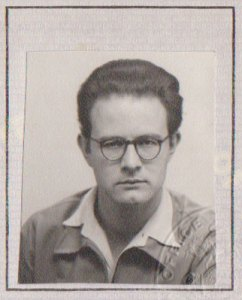"""S.E. Parker, from his 1950s passport. With this he visited France where he first discovered Max Stirner's book """"The Ego and His Own."""""""