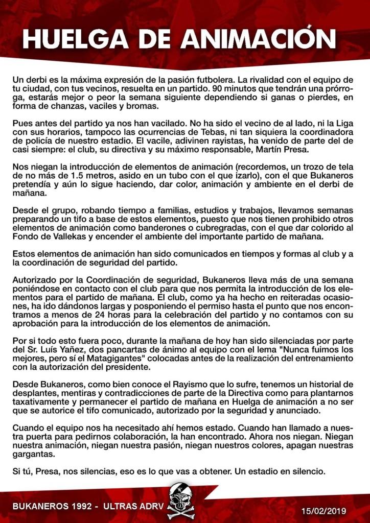 Huelga de animación de Bukaneros para el Rayo – Atlético de Madrid