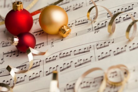 Red & Gold ornament with music sheet