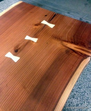 Redwood Slab Top with Maple Bowties