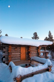 Winter Log Cabin Hot Tub