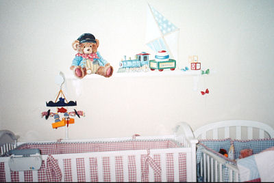 Baby Seamus Teddy Bear Train Nursery Theme