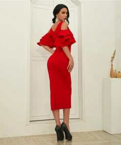rochie, rochie midi, rochie rosie, rochii, haine, haine dama, unique fashion,