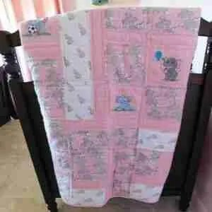 Elephants in Pink and Gray Baby Quilt