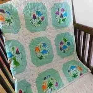 Dinosaur World Handmade Baby Quilt