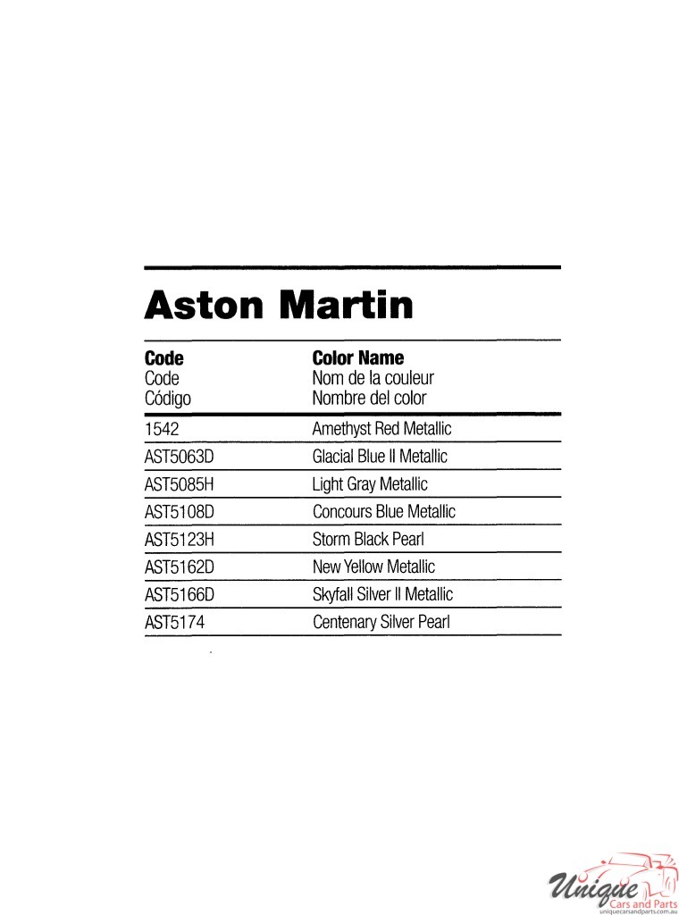 Aston-Martin Paint Chart Color Reference