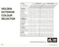 Holden HZ Colour Chart Brochure