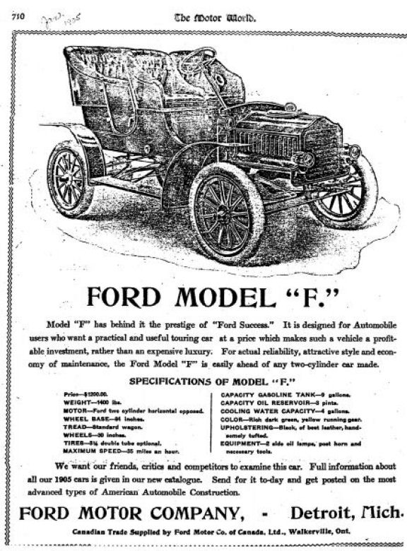 American Automobile Advertising published by Ford in 1905