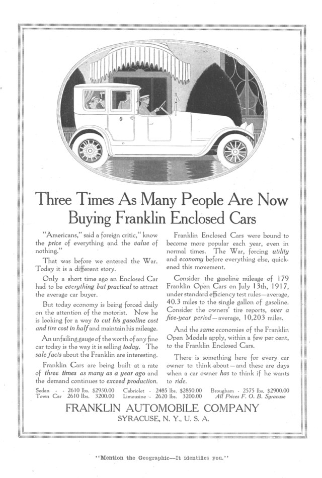American Automobile Advertising published by Franklin in 1917