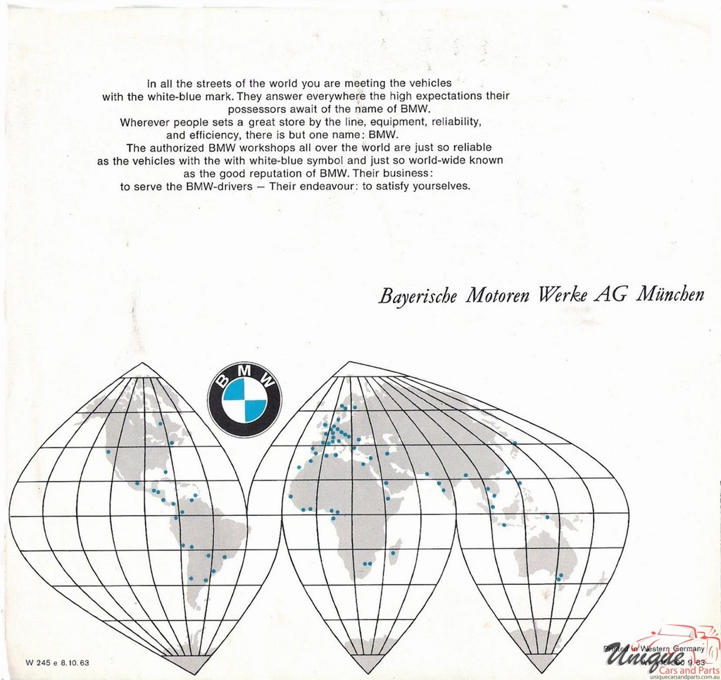 1963 BMW Full-Line All Models Brochure