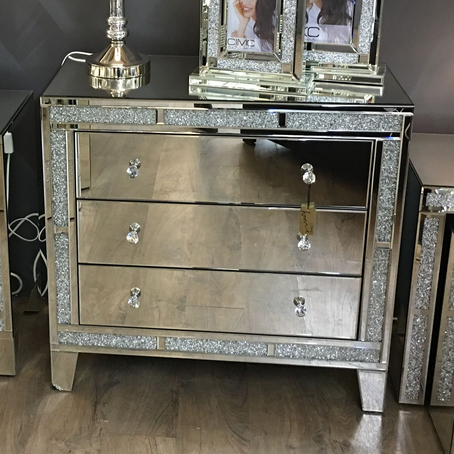 Milan Mirrored Diamond Three Drawer Chest