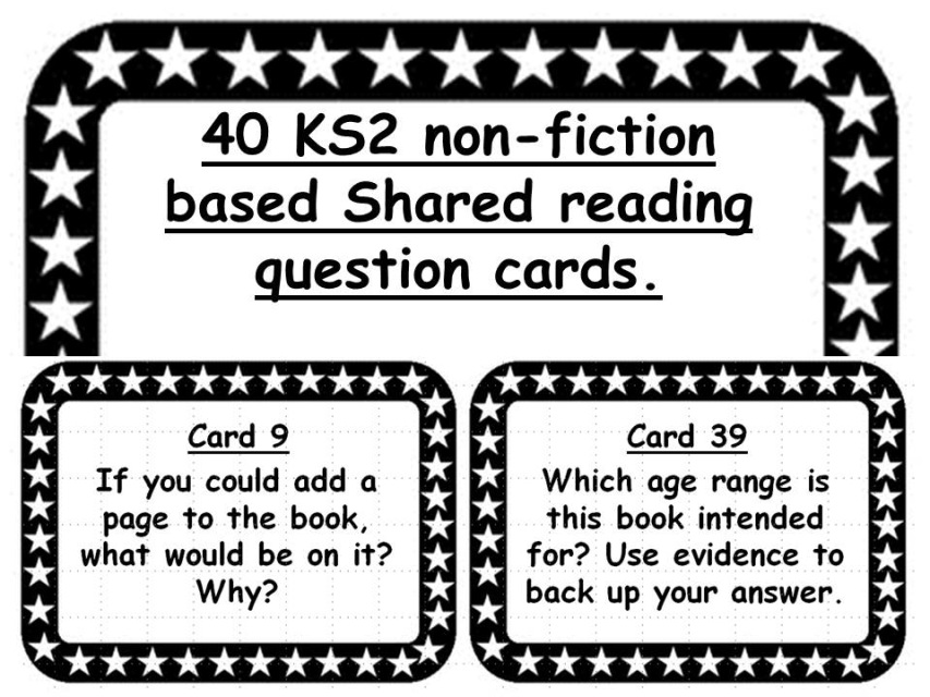 40 KS2 non-fiction based Shared reading question cards.