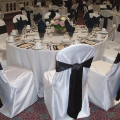 Wedding Chair Covers For Folding Slipcovers Black Satin Sashes Unique Floral