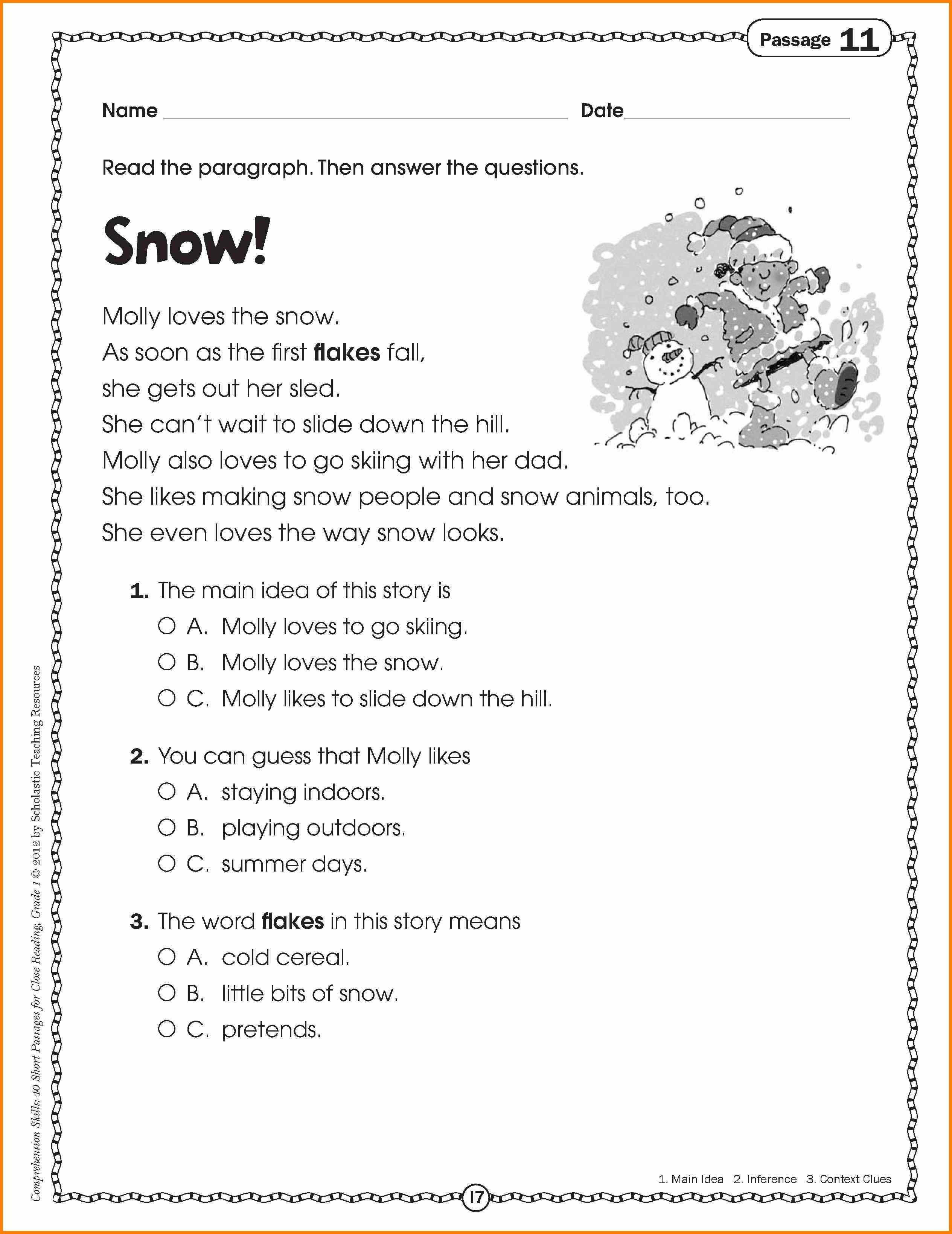 10 Unique Main Idea Worksheets 1st Grade