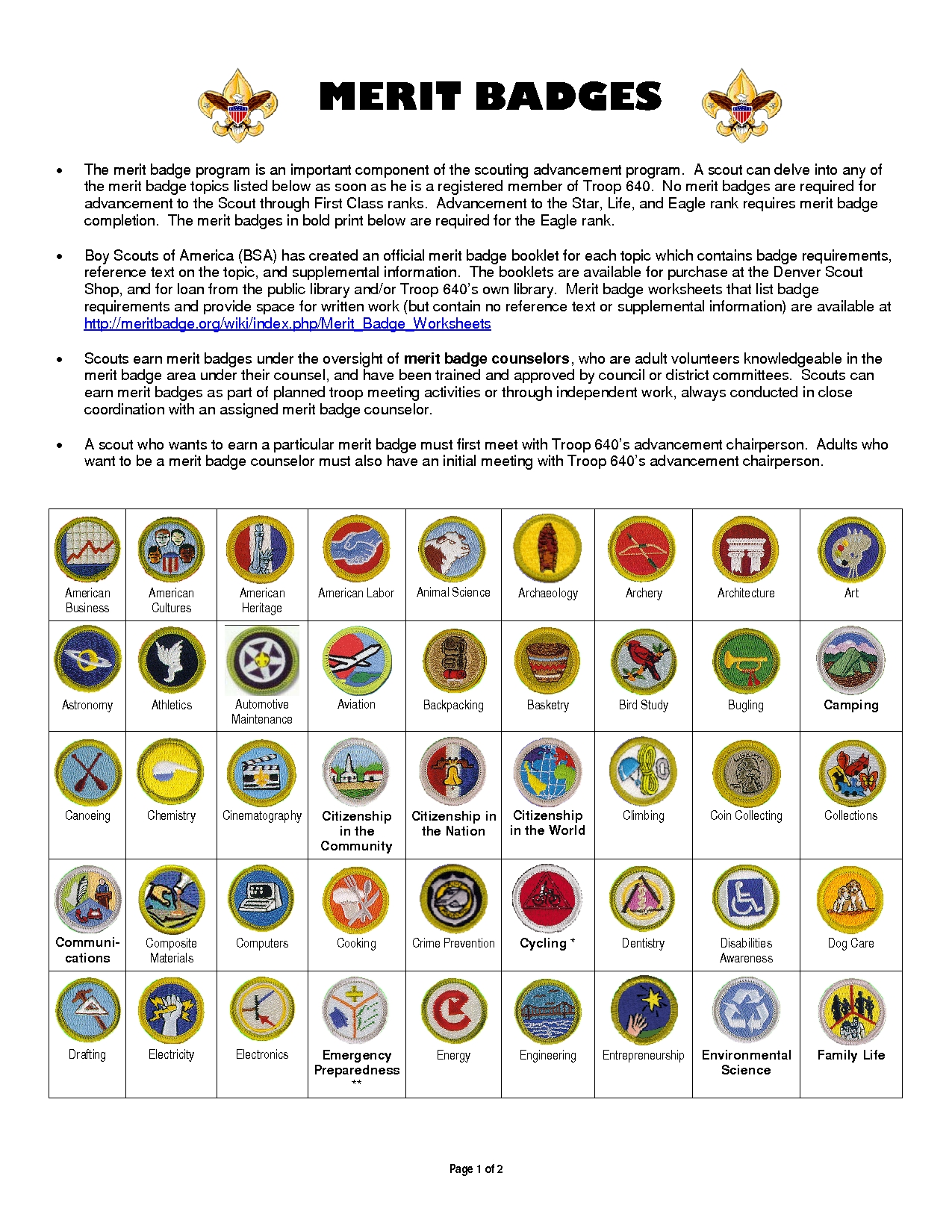 Boy Scout Merit Badges Worksheets