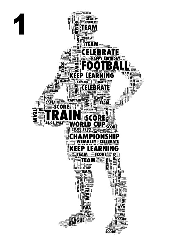Football Players 2 variations Personalised Word Art