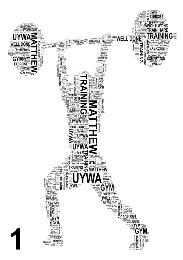 Weight Lifter Personalised Word Art Print FREE UK PP