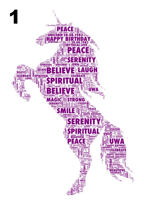 Unicorn 1 Personalised Word Art Print Free Uk &