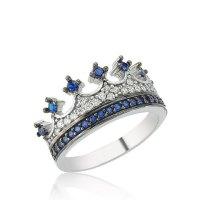 King & Queen ring, crown ring set,gold crown ring,925k ...