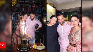 Karisma Kapoor gives a glimpse of Saif Ali Khan's birthday celebration; his cake features a picture of Taimur, Sara and Ibrahim | Hindi Movie News