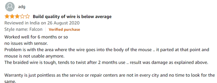 Artis Falcon Optical Gaming Mouse ratings by Customer