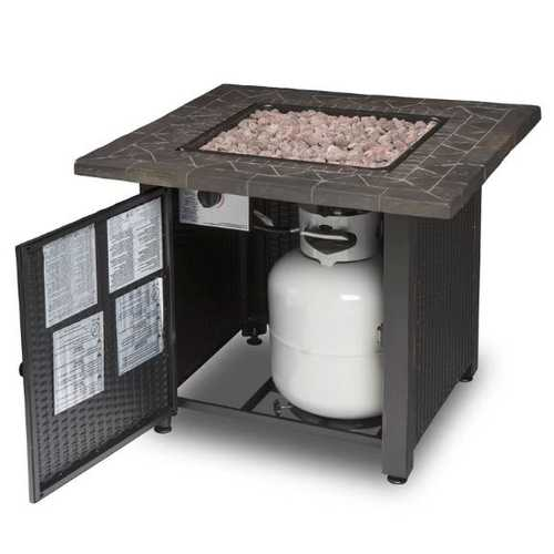 outdoor patio propane fire pit with hidden fuel tank storage cabinet