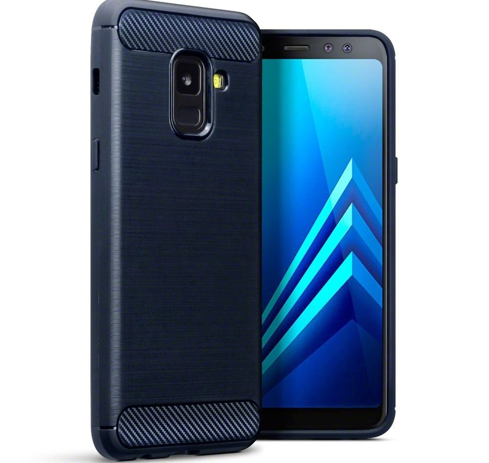 Terrapin Θήκη Σιλικόνης Carbon Fibre Design Samsung Galaxy A8 2018 - Dark Blue (118-002-667)