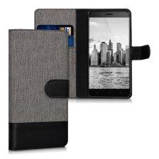 KW Canvas Θήκη Πορτοφόλι Lenovo K6 - Grey/ Black (40071.01)
