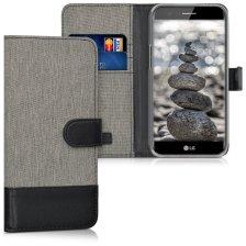 KW Canvas Θήκη Πορτοφόλι LG K10 2017 - Grey/Black (40784.22)