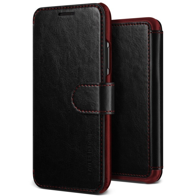 VRS Design Θήκη - Πορτοφόλι iPhone X / 10 - Black/Wine (VRSIP8-LDDBK)