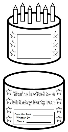 Birthday Cake Book Report Project: templates, printable
