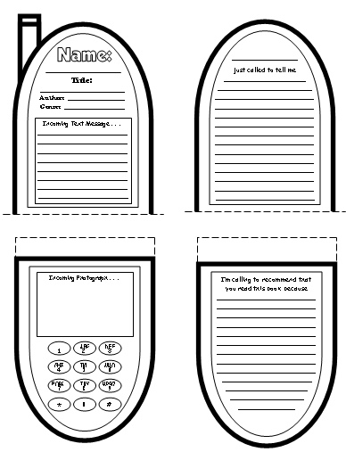 Cell Phone Book Report Projects: templates, worksheets