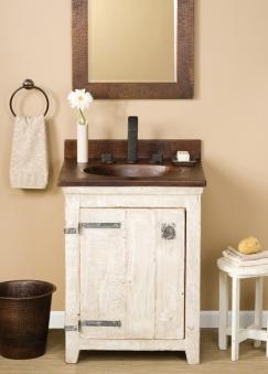 24 Inch Single Sink Bath Vanity in Whitewash with a Copper