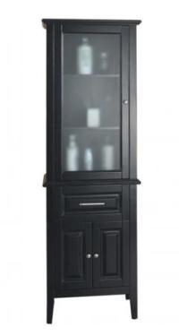 Espresso Bathroom Linen Cabinet with a Glass Door UVVUMDC5324